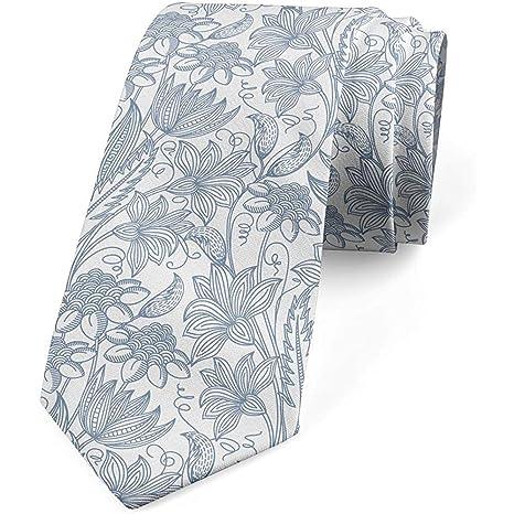 Corbata, cutre botánico vintage, azul pizarra y blanco: Amazon.es ...