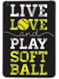 Inspired Cases - 3D Textured iPad Mini Case - Rubber Bumper Cover - Protective Tablet Case for Apple iPad Mini - Live Love & Play Softball