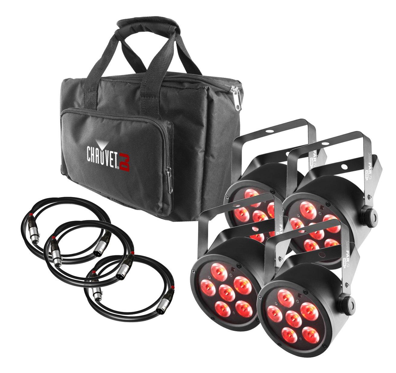 CHAUVET DJ SlimPACK T6 USB - 4 SlimPAR T6 USB Lights & 3 DMX Cables w/Gear Bag | LED Lighting by CHAUVET DJ