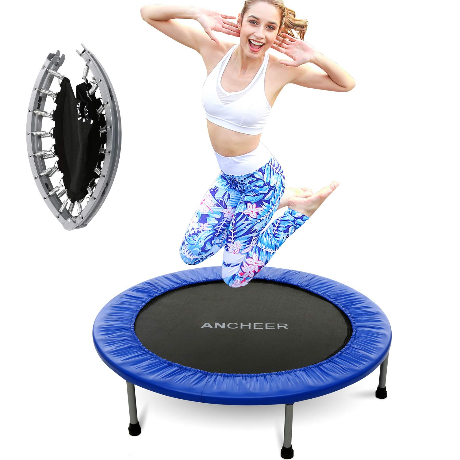 ANCHEER Mini Trampoline with Safety Pad (Blue, 40inch-Not Folding) by ANCHEER (Image #1)