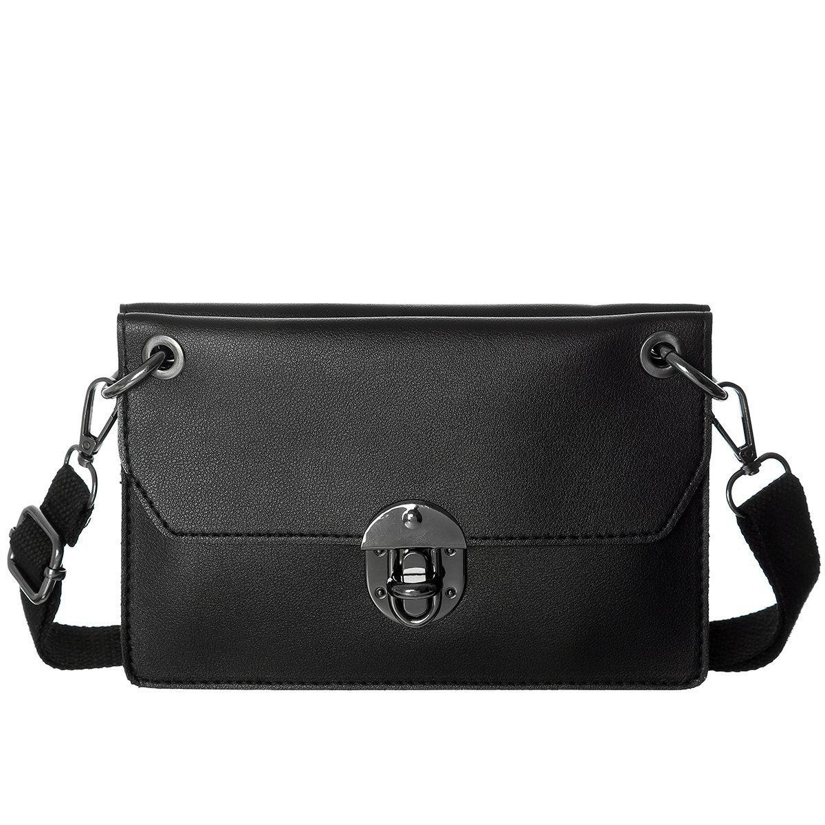 Small Crssobody Bag Double Separate Pockets Crossbody Shoulder Handbag Wallet For Women(Black2)