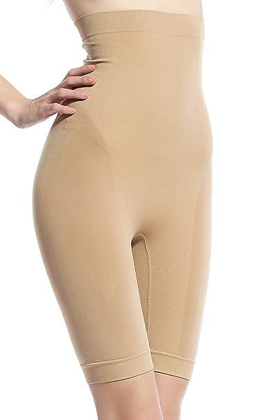 2fb285aaaf Khaya Women s High Waist Thigh Shaper Pants Hi-Waisted Shapewear Small  Beige at Amazon Women s Clothing store