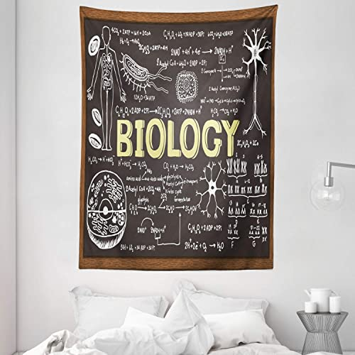 Ambesonne Educational Tapestry, Black Chalkboard Biology Hand Written School Classroom, Wall Hanging for Bedroom Living Room Dorm, 60 X 80 , Black Brown Pale Yellow