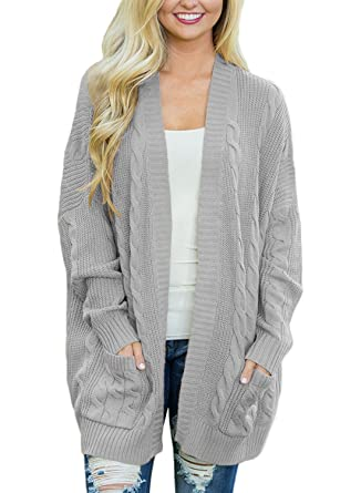 52eb65e2569a61 ZNCMRR Women s Casual Loose Oversized Long Sleeve Open Front Cable Knit  Sweaters Cardigan Coat Outwear with Pockets at Amazon Women s Clothing  store