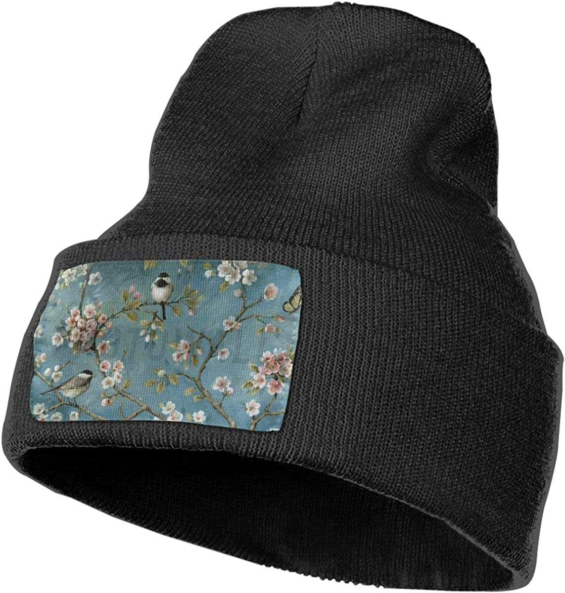 Flower-with-Birds Unisex Stretchy Knitting Beanie Hat Skull Serious Style Beanie