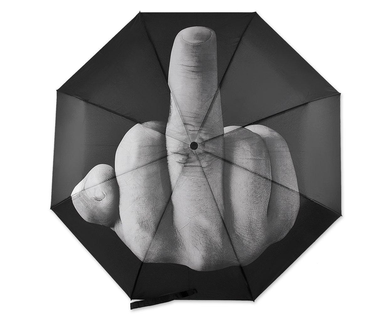 Shopready Middle Finger Umbrella Novelty Umbrella Waterproof Folding Umbrella For Sun Rain Days - Black