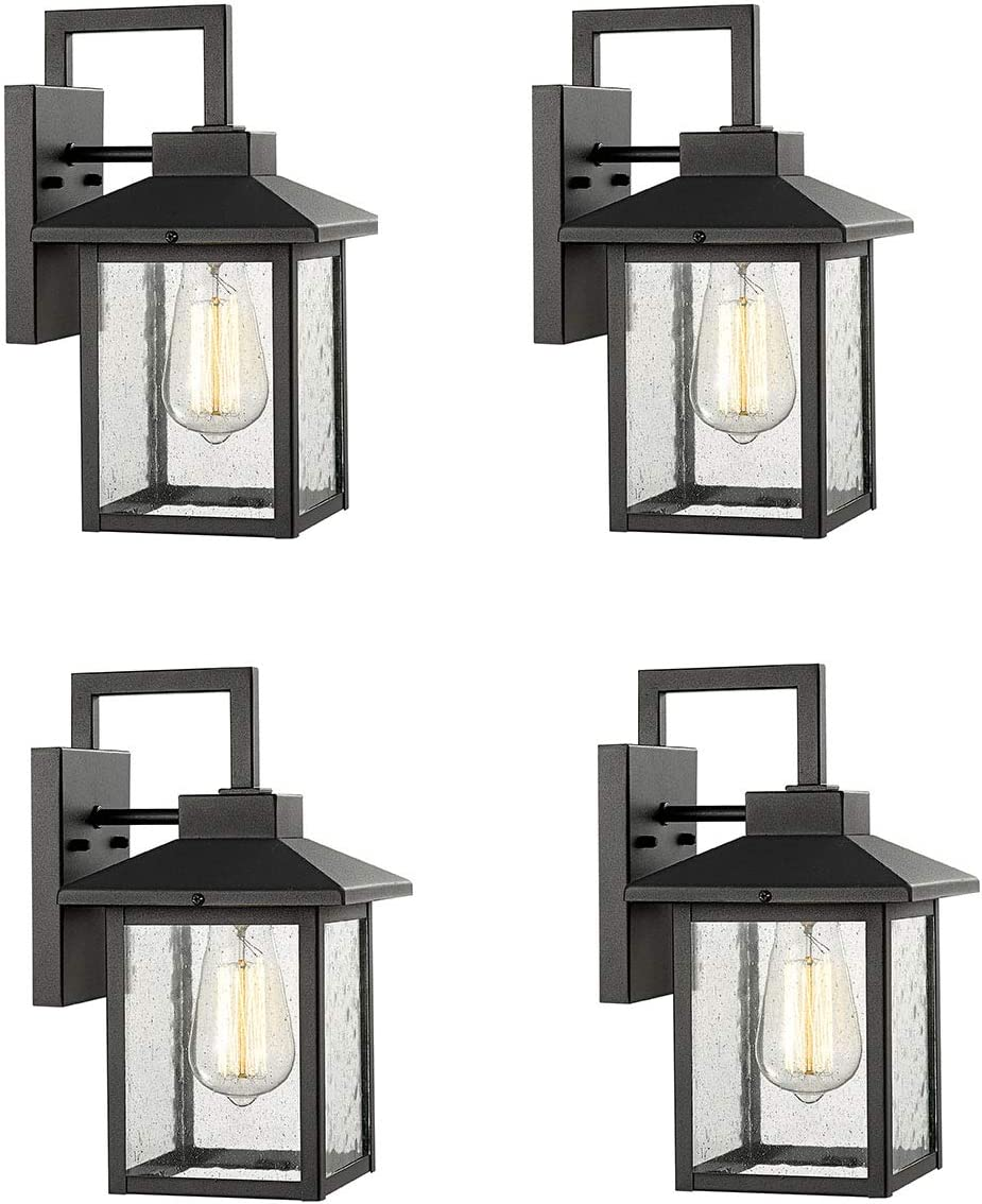 Bestshared 1-Light Wall Sconce,Outdoor Wall Mount Light Fixture, Exterior Wall Lantern with Seeded Glass Shade Black, 4 Pack