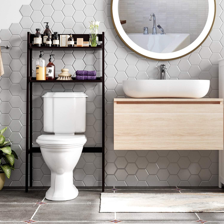 HOMECHO 2 Tier Over The Toilet Storage Rack, Space Saver Over Toilet Shelf, Bathroom Etagere Toilet Stand Storage Organizer, Dark Brown