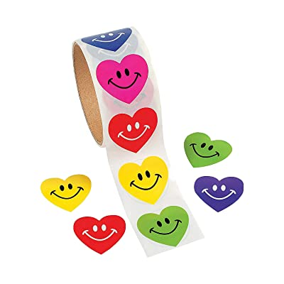 Fun Express Heart Smile Face Stickers (100pc) for Valentine's Day - Stationery - Stickers - Roll - Valentine's Day: Toys & Games