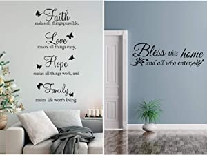 2 Pieces Vinyl Wall Quotes Faith Makes All Things Possible Bless This Home and All Who Enter Wall Decals Stickers Wall Stickers Quotes Motivational Wall Quote Sayings Butterfly Stickers Home Decors