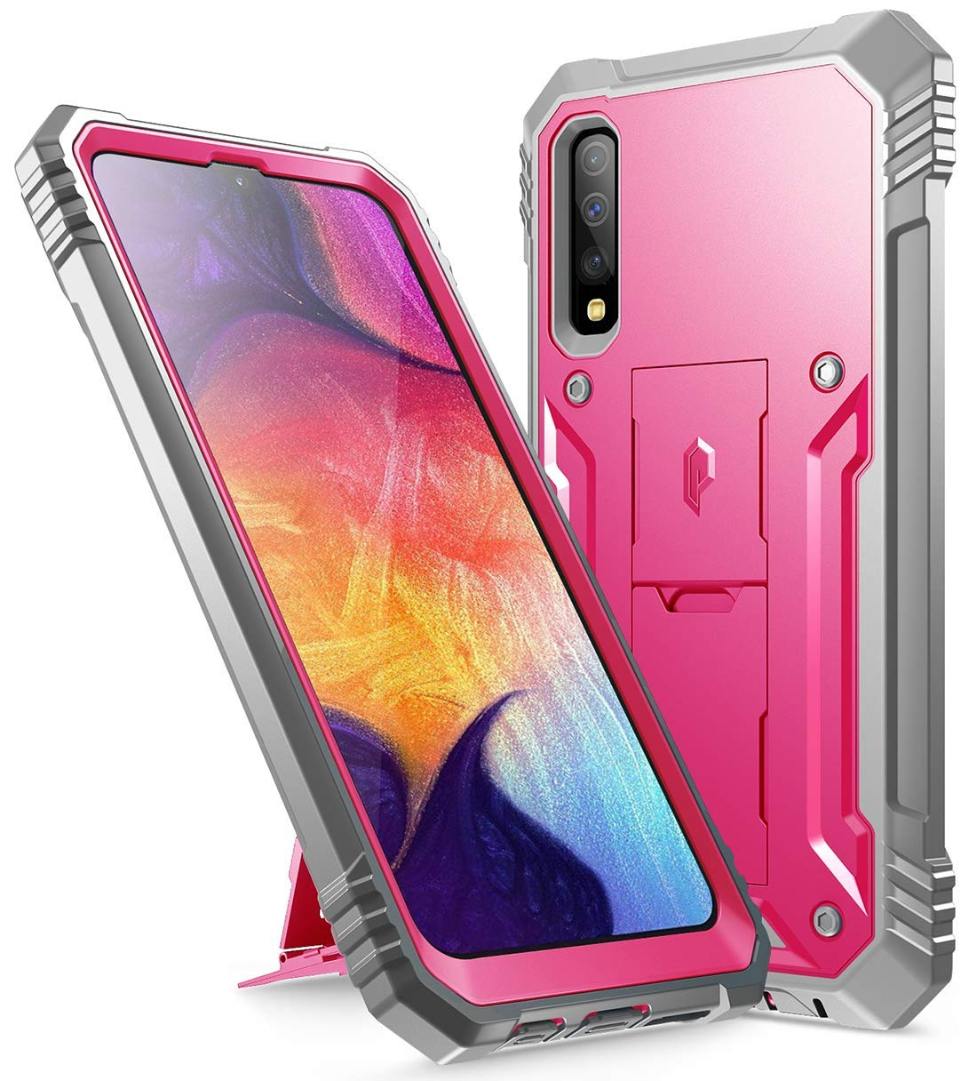 Poetic Galaxy A50 Rugged Case with Kickstand, Full-Body Dual-Layer Shockproof Protective Cover, Built-in-Screen Protector, Revolution Series, Defender Case for Samsung Galaxy A50, Pink