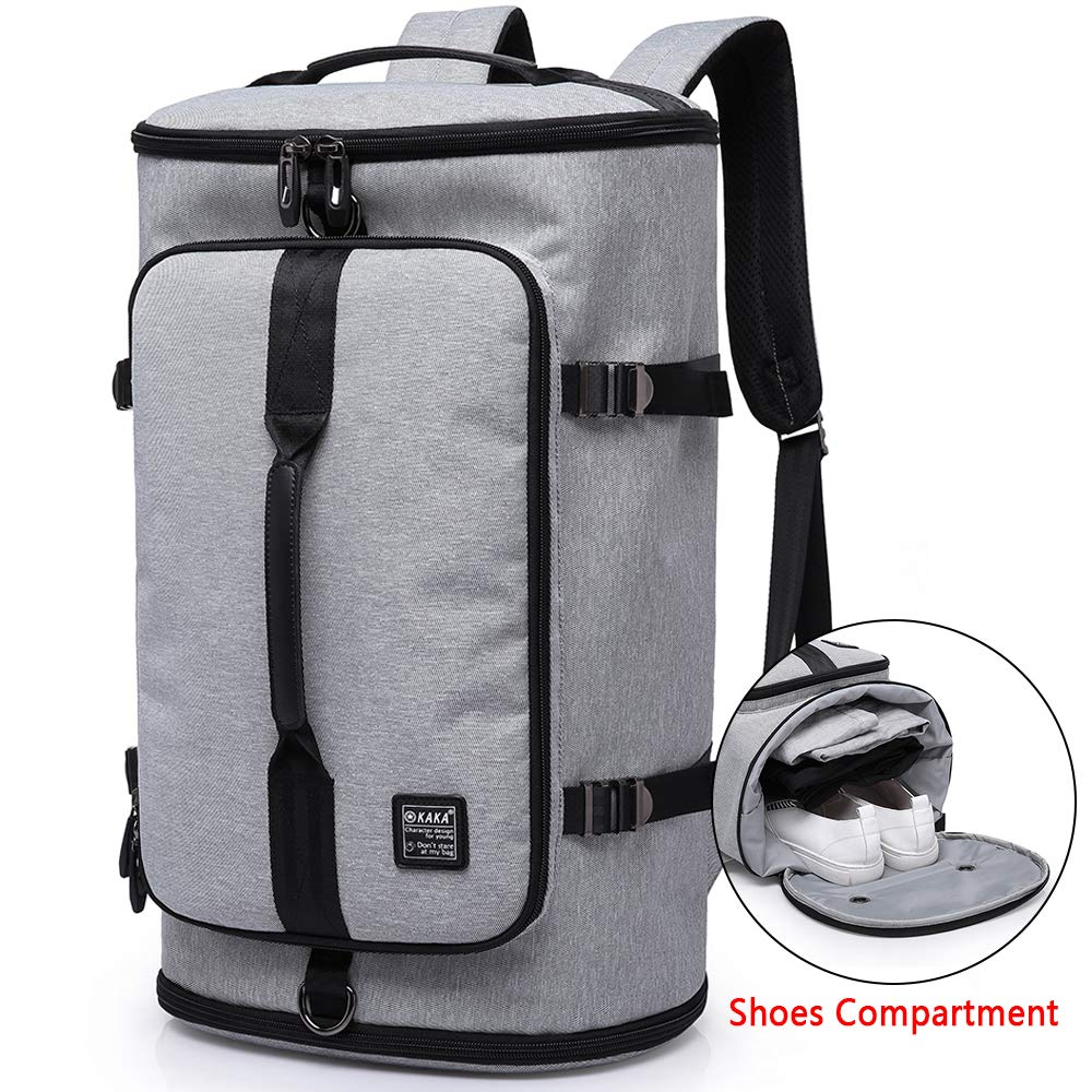 KAKA Travel Duffel Backpack, Gym Backpack Outdoor Travel Bag with Shoe Compartment, Weekender Overnight Convertible Bag Water-Resistant College Laptop Bookbag Hiking Camping Rucksack by KAKA