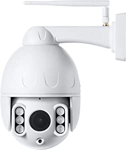Outdoor 2.5inch PTZ WiFi Security Camera 1080P Pan/Tilt 5X Optical Zoom 165ft Night Vision Two-Way Audio IP66 Weatherproof Motion Detection & E-Mail/Push Alerts AT-200PW White