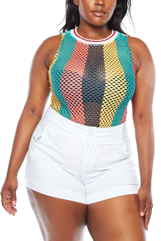 695fefdf780 Women Plus Size Fishnet Jamaica Sleeveless Cover Up Bodysuit GKJ8254 -  Multi -  Amazon.co.uk  Clothing