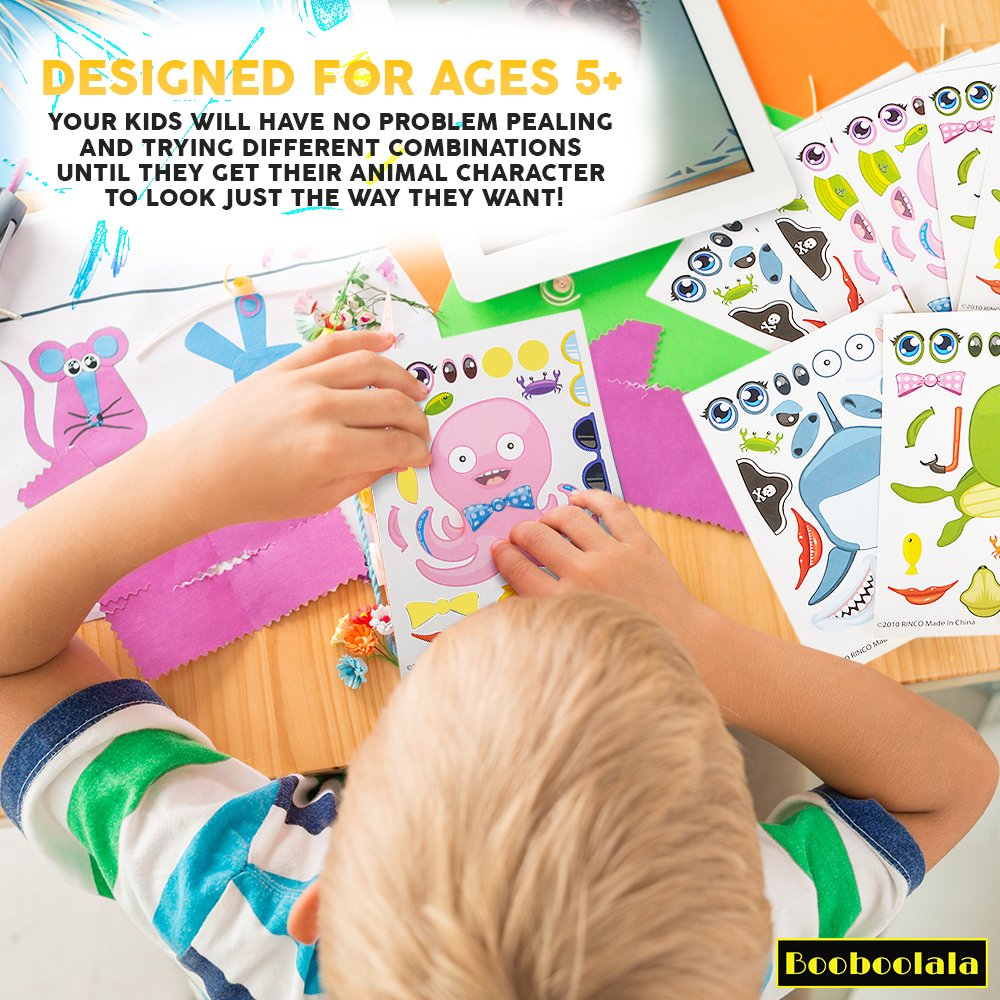 48 Piece Set of Make-Your-Own Sea Sticker Sheets by and Sea Creature Stampers School or Craft Time 24 Great for Parties Booboolala Kids Party Supply Set Let Your Kids get Creative 24