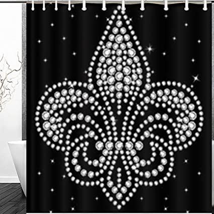 Shower Curtains Rhinestone Applique Print Textile Clothes Fashiontrendy Beauty Fashion Vintage France Decor Bathroom 60 X