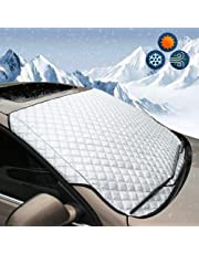 BEEWAY Car Windshield Cover, Heavy Duty Ultra Thick Protective Windscreen Cover - Snow Ice Frost Sun UV Dust Water Resistent - Pefect Fit for Cars SUVs All Years Summer/Winter