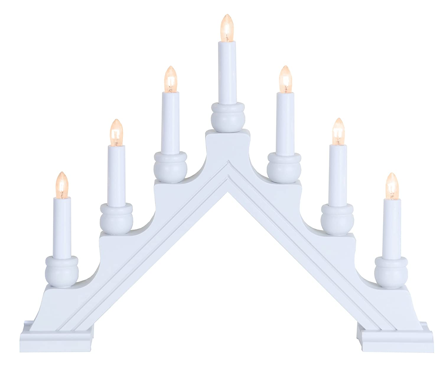 White wood Swedish electric candelabra.