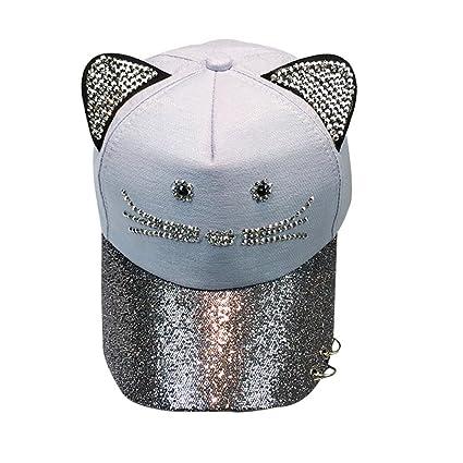 Sombrero para El Sol Rawdah Gorra De BéIsbol Linda del Anillo De La  Lentejuela del OíDo del Gato De Las Mujeres Sombrero Hip Hop Flat Hat Gorra  Unisex Tapa ... 1e8e1815f51
