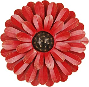 "Zcaukya Large Metal Flower Wall Decor, 13"" Flower Art Wall Hanging for Indoor Outdoor Home Bedroom Office Garden (Red)"