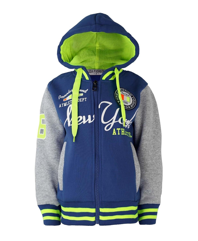 Kids Sports New York Fashion Varsity Jacket Girls Boys Baseball Hooded Top
