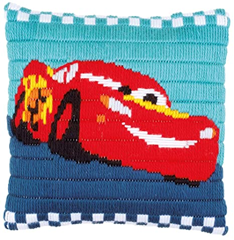 Amazon.com: Disney Cars Rayo McQueen cojín Kit de punto de ...