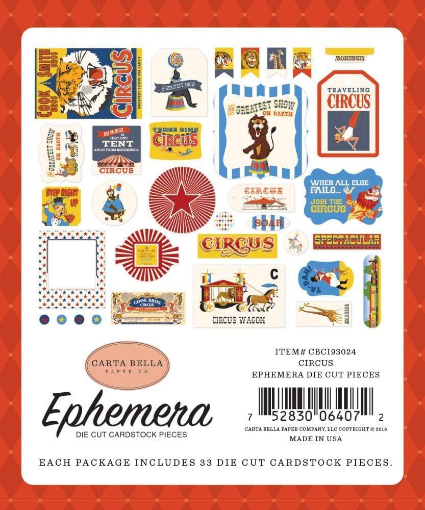 Red Black Orange Cream Carta Bella Paper Company Circus 6x12 Accents chipboard Yellow