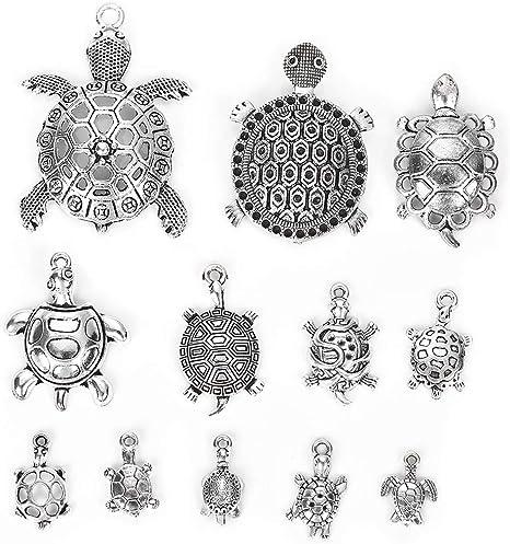 Wholesale 12Pcs Tibet Silver Turtle Charm Pendant Beaded Jewelry