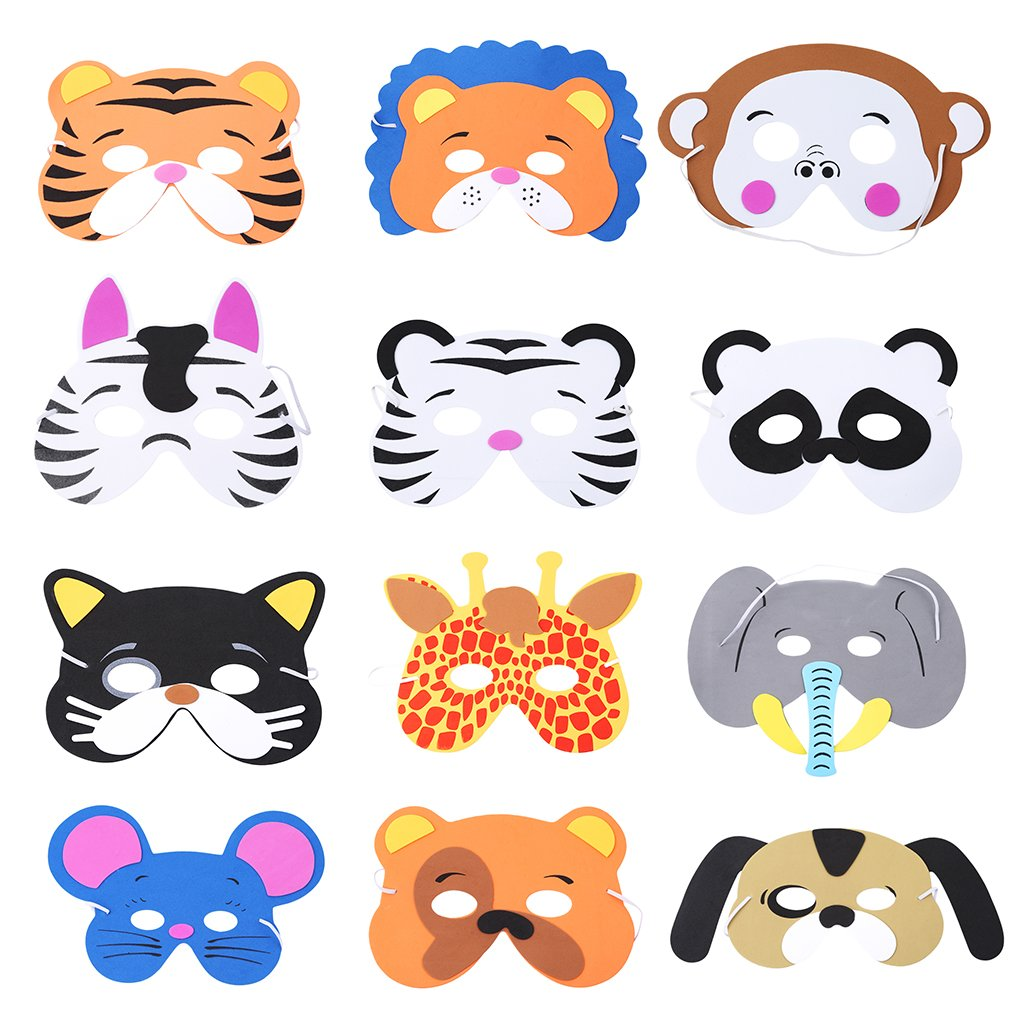 dress up and play ku pack of 6 kids Face Masks;woodland animals party