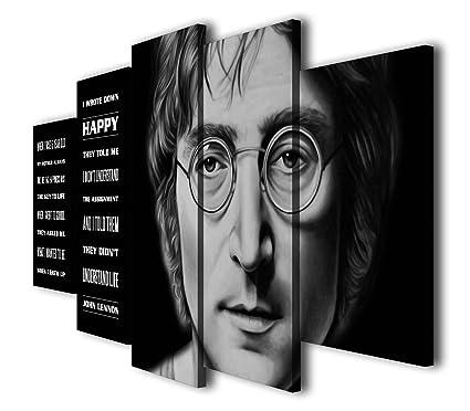 Amazoncom Susu Art 5 Pcs John Lennon Quotes Happiness Canvas