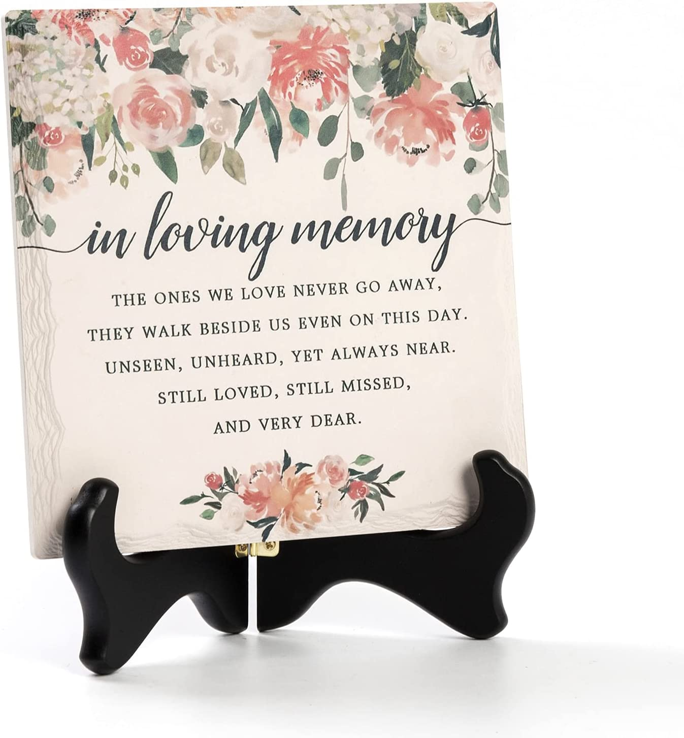 LukieJac in Loving Memory Ceramic Tile with Wooden Stand, Remembrance Sympathy Gifts for Loss of Loved One- Bereavement/Condolences/Grief Gifts-Funeral Decor Sorry for Your Loss -Flowers(3 Options)