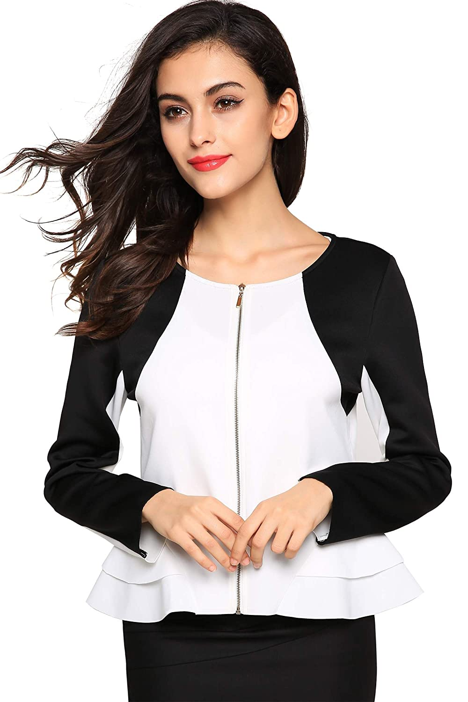 Zeagoo Womens Metal Zip Skinny Jackets Long Sleeve Blazer Suit CoatBlack WHI