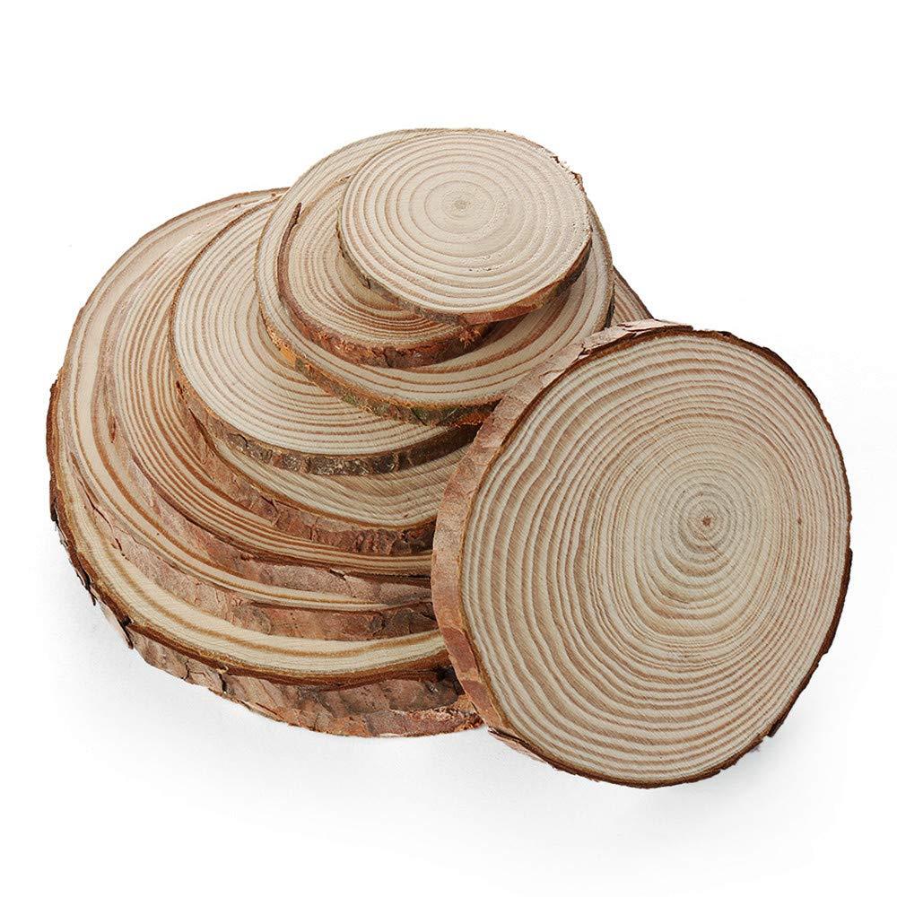 MonLiya 天然木製スライス カップマット マグコースター テーブルマット 木製スラブ センターピース ラウンドログディスク DIYクラフト ツリーバーク 木製サークル DIYクラフトコースター用 10個   B07MBMZBG4