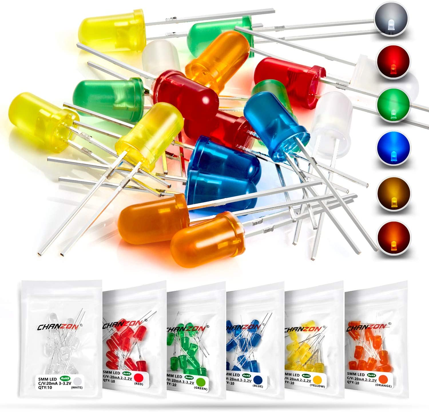 LED Circuit Assorted Kit for Science Project Experiment MCIGICM White 5mm LED Light Diodes 100 Pcs