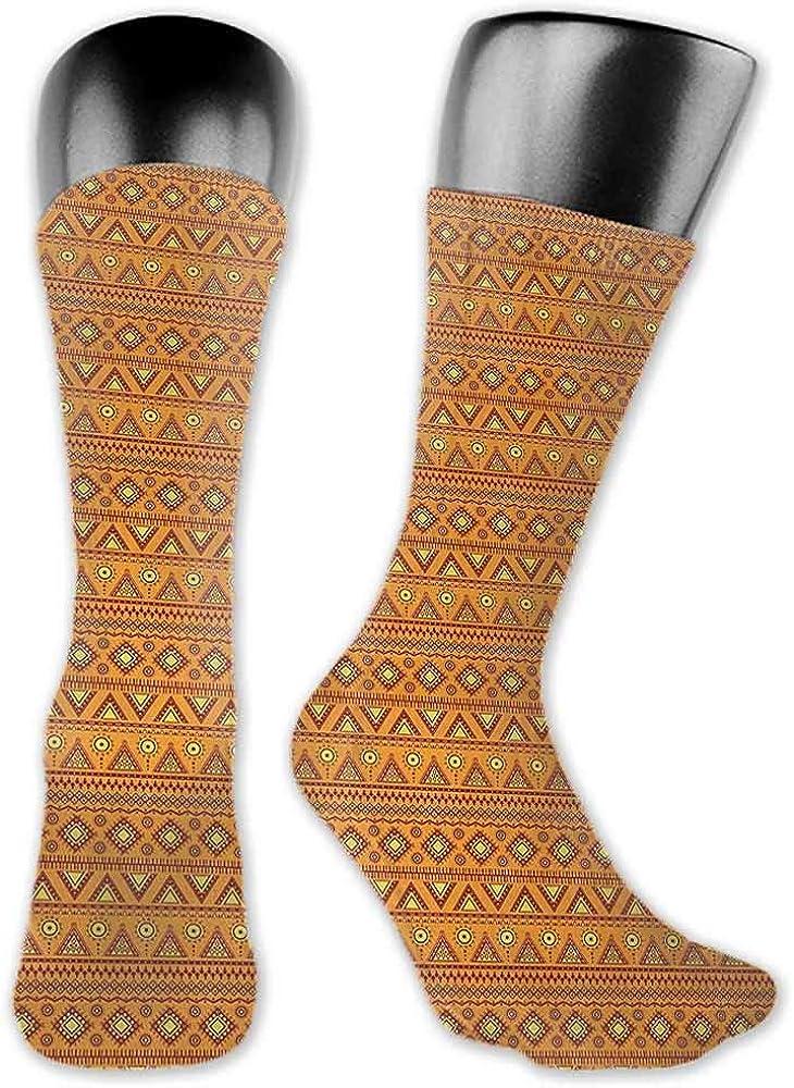 Korean Style Women Socks Aztec,Folkloric Borders Triangle Motifs with Circles and Abstract Sun Figures,Orange Yellow Burgundy,socks women cotton