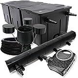 Wiltec–Set de filtro para estanque (hasta 90000l, depuradora UVC con 72W, 115W Bomba, manguera de 25m, Skimmer