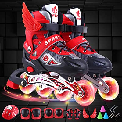 CLEBAO Inline Roller Skates Children Adult Full Flash Straight Adjustable Single Row Inline Skates Full Set of Kids Roller Blades Adult Men and Women Pu Mesh : Sports & Outdoors