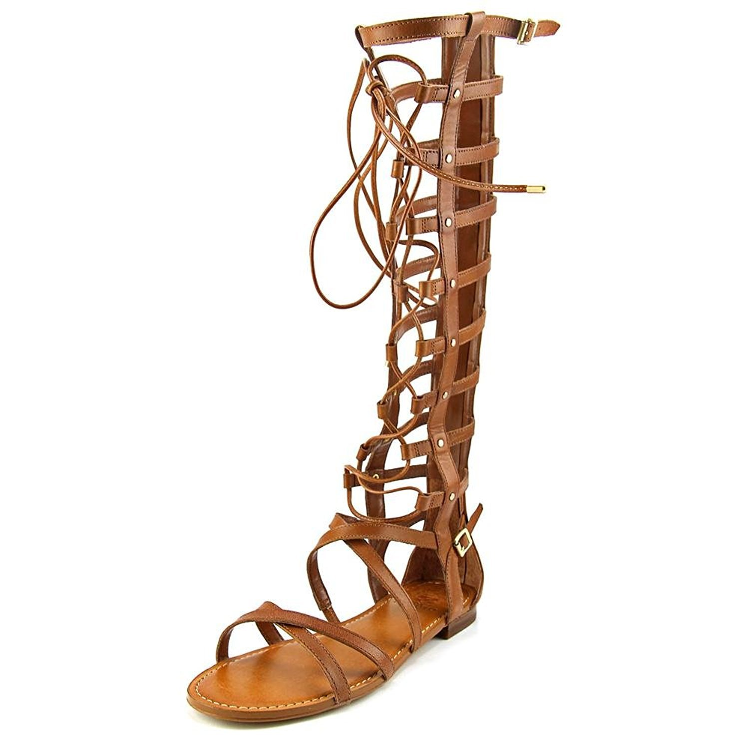 Vince Camuto Womens Mesta Open, Summer Cognac Vintage Leather1030137, Size 7.0