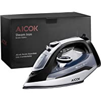 Aicok 1400W Non-Stick Soleplate Anti Drip Rapid Heating Steam Iron With Variable Temperature & Steam Control (Black)
