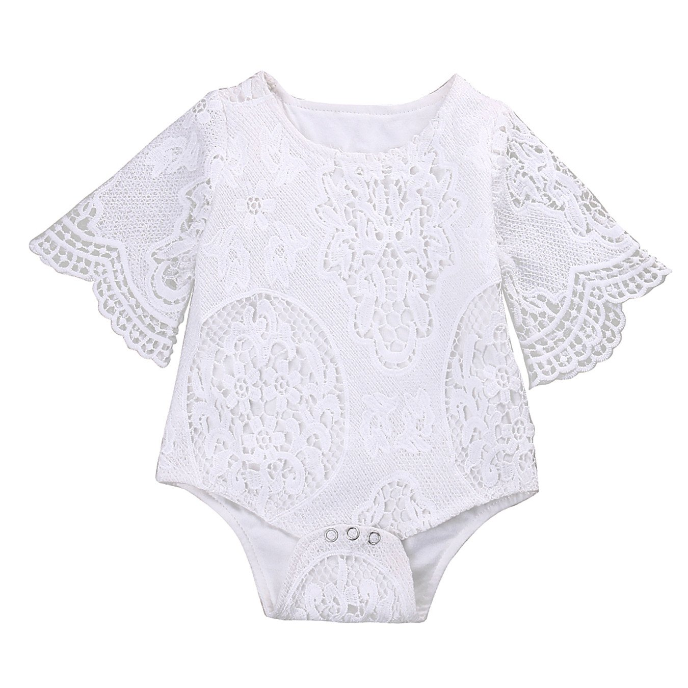 B Annie Lovely Gifts Baby Girls White Ruffles Sleeve Romper Infant Lace Jumpsuit Clothes Sunsuit Outfits