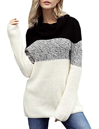605d66e771c CILKOO Women s Cowl Neck Color Block Long Sleeve Knit Pullover Sweater Top  at Amazon Women s Clothing store