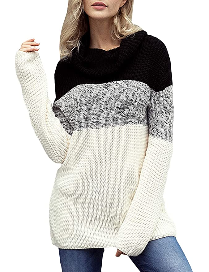 CILKOO Women\'s Cowl Neck Color Block Long Sleeve Knit Pullover ...