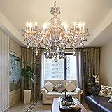 Samger Samger Lujosa lámpara de techo de cristal de techo de araña de cristal K9 K9 lámpara colgante color coñac para sala de estar dormitorio Entrada de pasillo