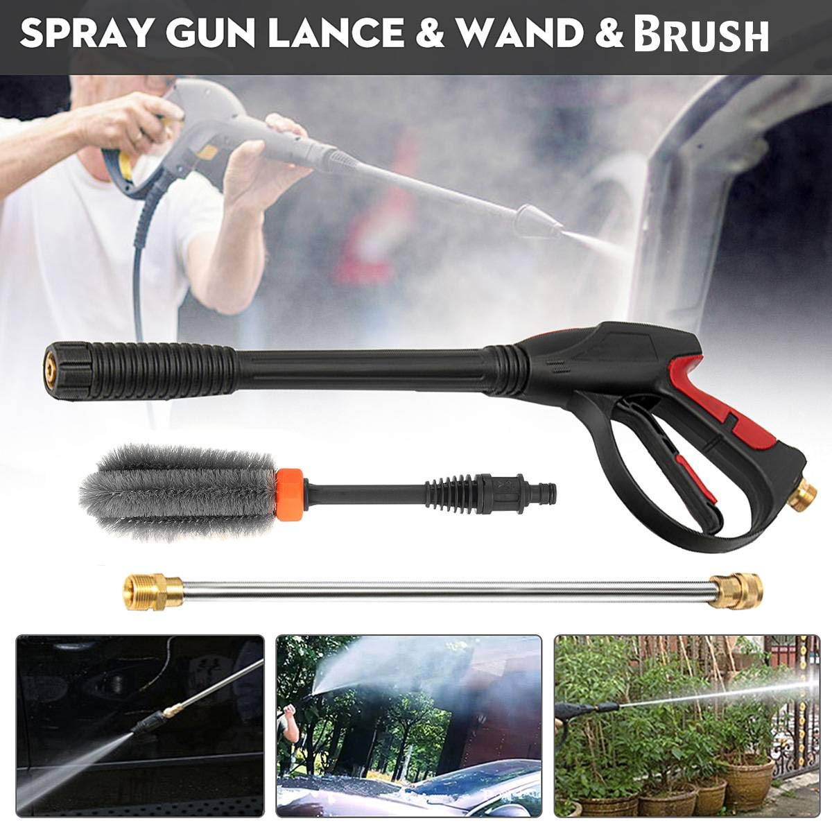 High Pressure Cleaner Water Jet Cleaner Extension Rod M22 Interface Washer Spray Guns Extension Rod+Car Wash Brush For Car Wash