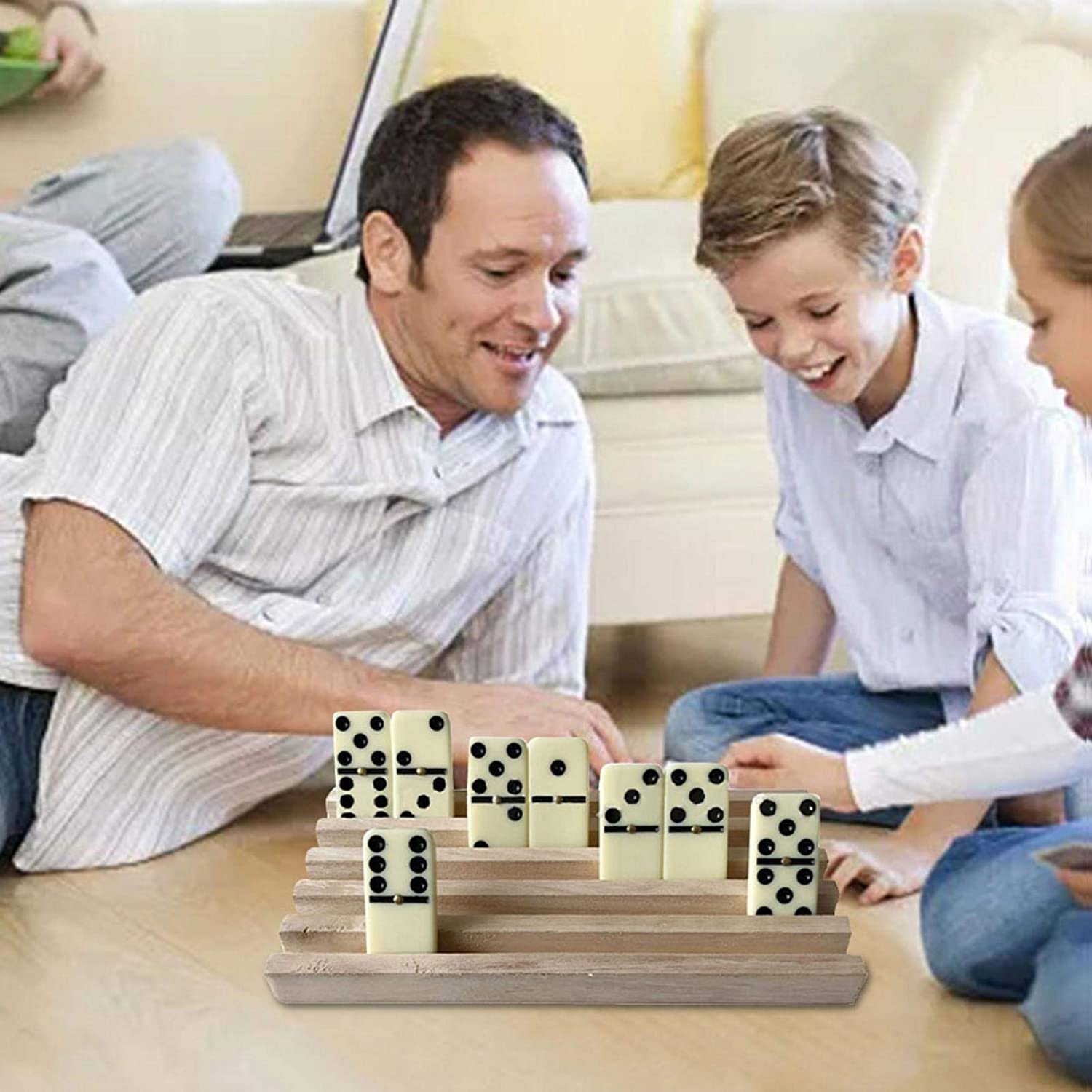 A Set of Four Wooden Brackets for Dominoes Suitable for Dominoes Chicken Feet Mexican Trains and Domino Games
