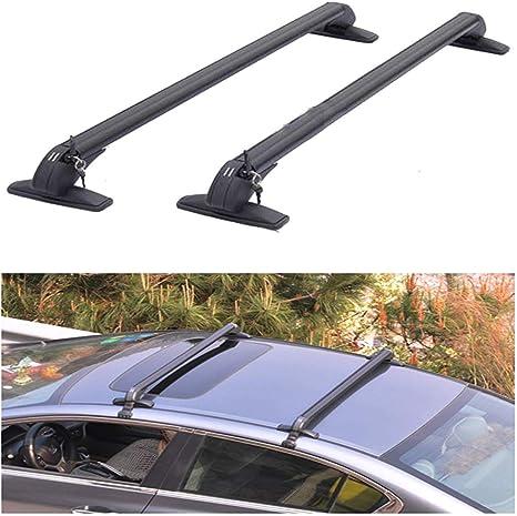 JJSFJH 2 piezas de barras universales negras en el techo del coche ...