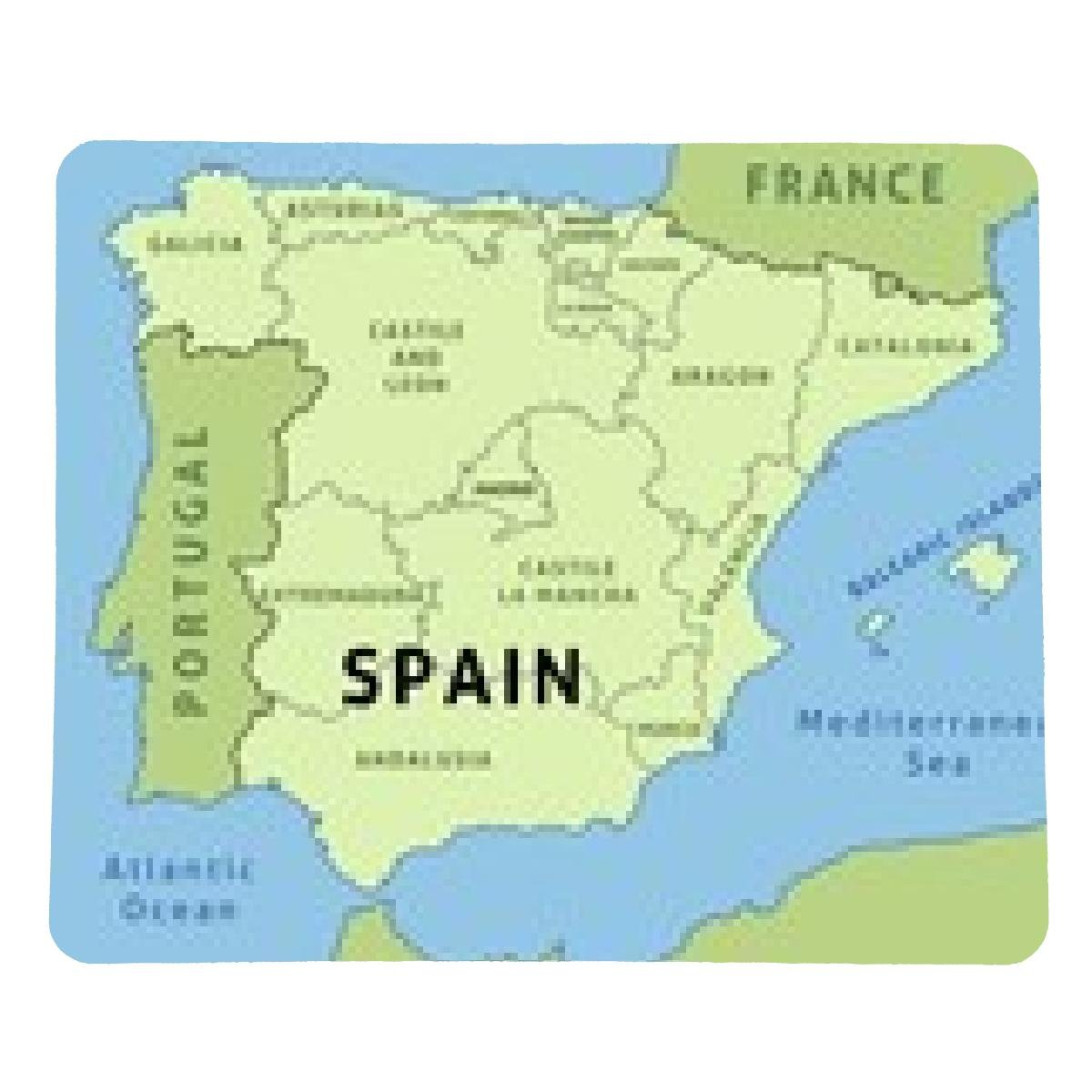 Spain map with regions Mousepad - rectangular - 23cm x ...