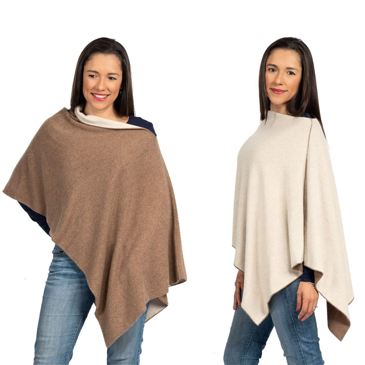 Cashmere Reversible Poncho Dress Topper - 100% Pure Luxury Knit - Ultra Soft and Warm with Beautiful Silk Keepsake Gift Bag