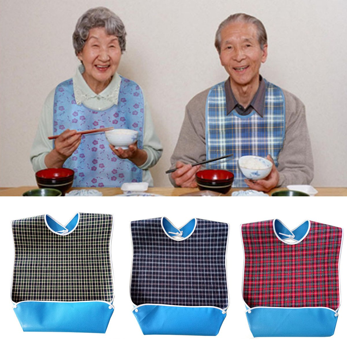 Adult Bib with Optional Crumb Catcher, Waterproof Backing Mealtime Clothing Protector Adult Aid Apron with Snaps for Elderly Patient Senior Eating - 3 Pack by oenbopo