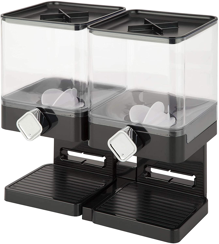 Zevro Compact Dry Food Dispenser, Dual Control, Black/Chrome